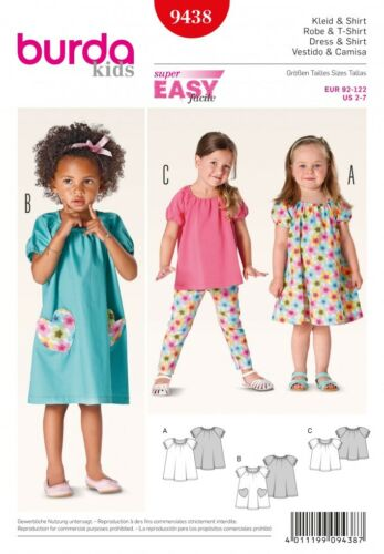 Burda Childrens Easy Sewing Pattern 9438 Dresses /& Tops Burda-9438