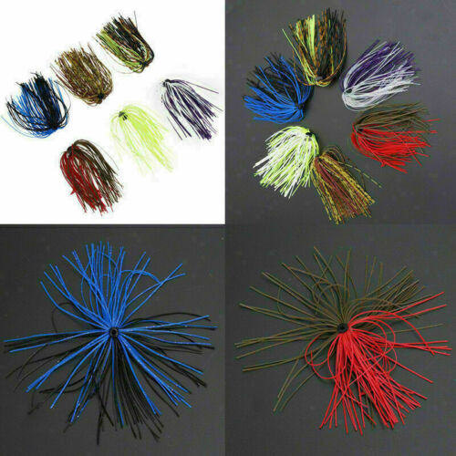 1-10 Bundles 50 Strands Silicone Skirts Fishing Skirt Jig Lure Rubber Rando V8Z7