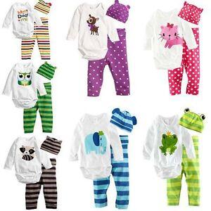 3pcs-Baby-Boys-Girls-Kids-Newborn-Hat-Romper-Pants-Trousers-Outfit-Clothing-Set