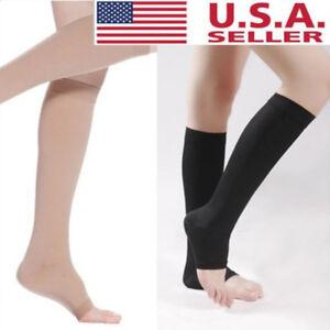 18-21mmHg-Men-Women-Compression-Socks-Knee-High-Support-Stockings-Open-Toe-S-XL