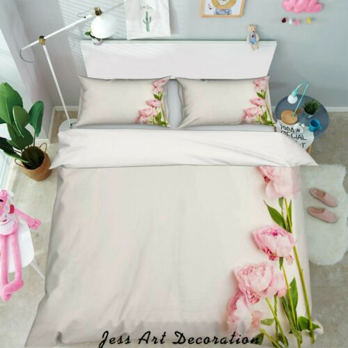 3D Rose Simple White Quilt Cover Duvet Cover Comforter Cover Single//Queen 90