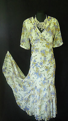 POMODORO Size 18 White Lilac Green Floral Ladies Designer Wedding Cocktail Dress