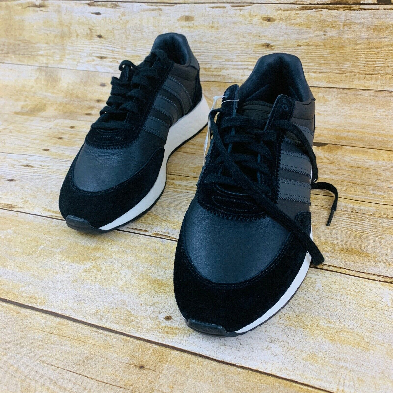 New Adidas Originals I-5923 Leather shoes Casual Boost Athletic Black-White sz9