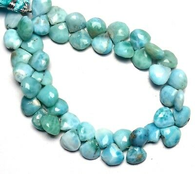 303 Carats,8 Inch Strand,Natural Larimar Faceted Drops Briolettes,9-12mm size