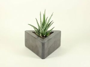 Triangle-Concrete-Flower-Pot-Modern-Planter-Handmade-Home-amp-Garden-Decor-Gray