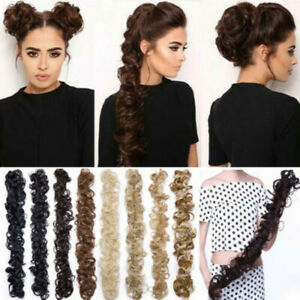 Long-Thick-Hair-Extensions-Scrunchie-Wrap-Messy-Bun-Updo-Curly-Ponytail-Chignon
