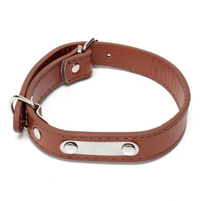Pu Pet Collar Dog Cat Puppy Collars Adjustable Neck Buckle Xl Brown L4N9