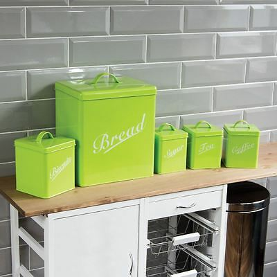 5 Piece Canister Set Lime Bread Bin Sugar Coffee Tea Biscuits By Home Discount