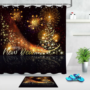 Happy New Year Celebration Firework Fabric Shower Curtain ...