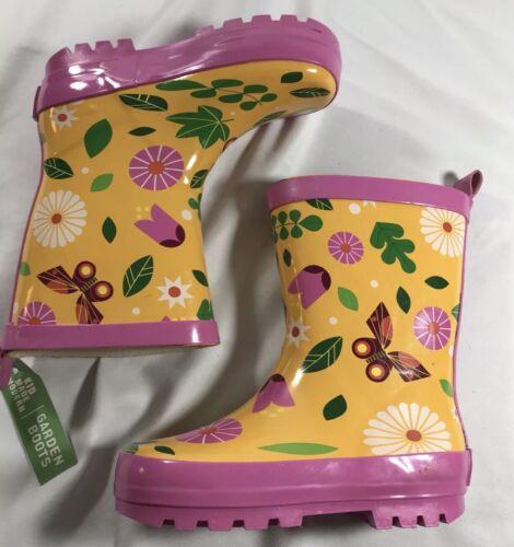 New Kids Butterfly Garden Rain Boots Yellow Kid Made Modern Size Medium 7//8