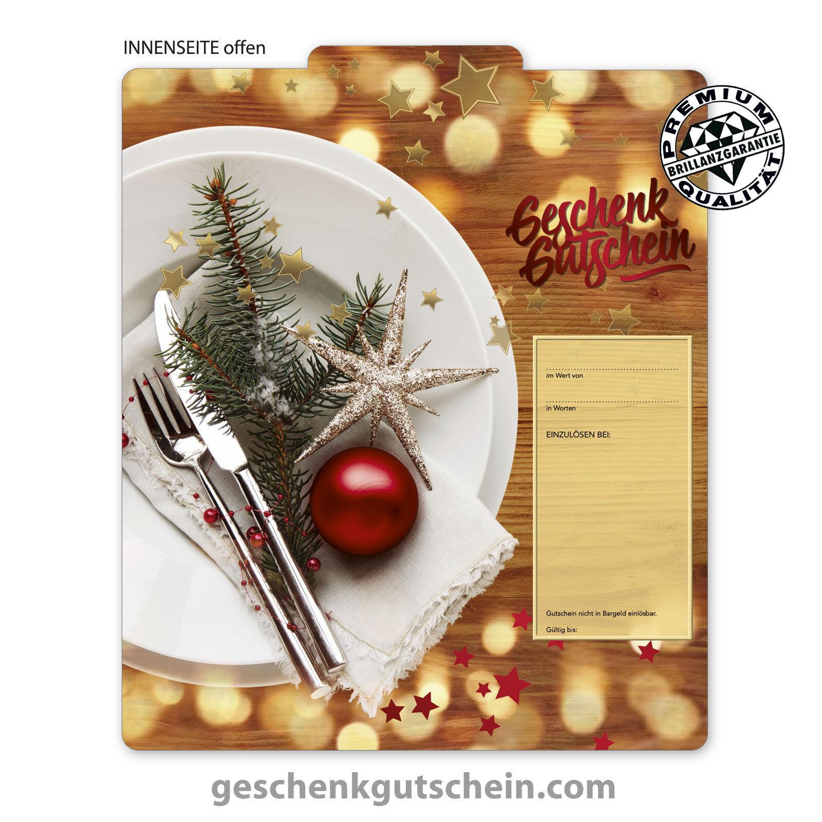 Premium Weihnachts-Faltgutscheine  MultiFarbe  für Gastronomiebetriebe G2019  | Neueste Technologie  | Grüne, neue Technologie