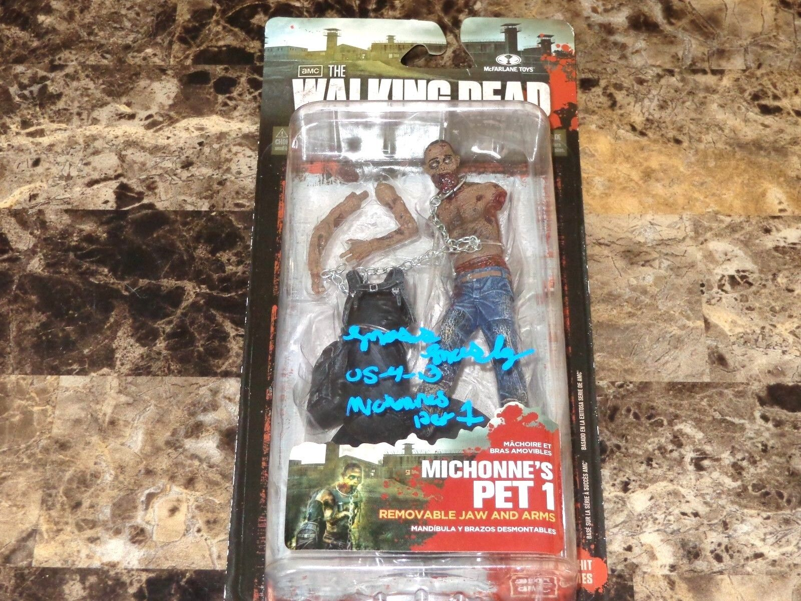 The Walking Dead Signed Action Figure Moses Moseley Michonne's Pet 1 Zombie MOC