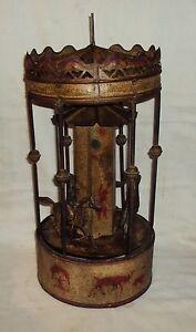 Vintage-OLD-German-Made-Gunther-man-Wind-up-Carousel-Tinplate-Toy-1890-rare