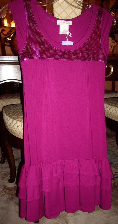 Nwt Larok Rosa Flügelärmel Paillette Krause Kleid GRÖSSE XS Einzelhandel