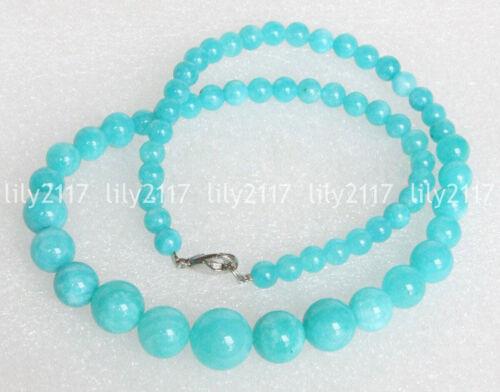"6-14 mm Naturel gradué rond bleu ciel Amazonite Gemstone Beads Necklace 18/"""