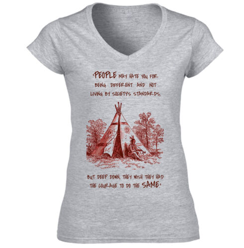 AMERICAN NATIVE INDIAN HATE YOU NEW COTTON GREY LADY TSHIRT