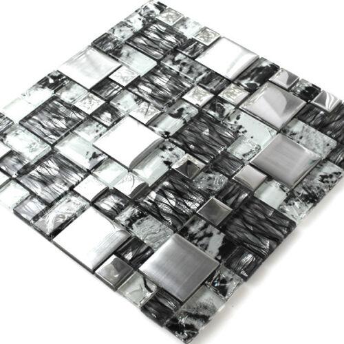 MUSTER von Glasmosaik Fliesen Zebra Anthrazit Silber Dekor Bordüren Bad Wand