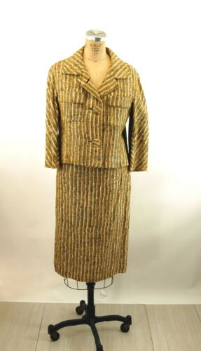 1950s linen suit by Ben Zuckerman abstract striped