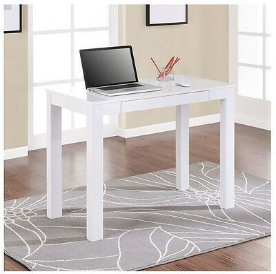 Small White Computer Desk Workstation Writing Table Dorm Room Furniture Compact