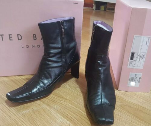 Ankle Cuban 40 Black Zip Baker Up Leather Ted Size Bread 7 Boot Heel Uk Eur 5UgW1qA