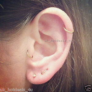 20g Rose Gold Cartilage Earring Rook Helix Cuff Tragus Ring Nose