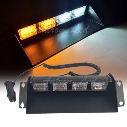 "11/"" LED Amber White Warning Emergency Beacon Dash Sucker Strobe Windshield Light"