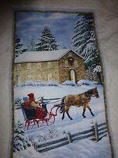 "WINTER SNOW SCENE Fabric Cotton Large Panel Craft Quilting SLEIGH RIDE 24""x 44"""