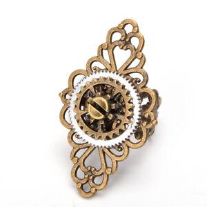 Vintage-Victorian-Steampunk-Gear-Floral-Ring-Bronze-Gothic-Punk-Adjustable-Ring