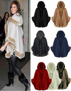 Womens Ladies Celebrity Designer Poncho Faux Fur Trim Hooded Cap Shawl Coat New