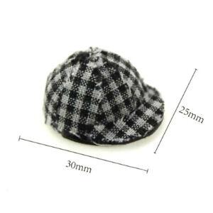 1-12-Miniature-plaid-cap-dollhouse-diy-doll-house-decor-accessories-BX