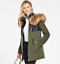 Pu Very Up 18 New Coat 10 Black Womens Uk Parka Fabric amp; Hooded Zip Khaki Mix CXSqC