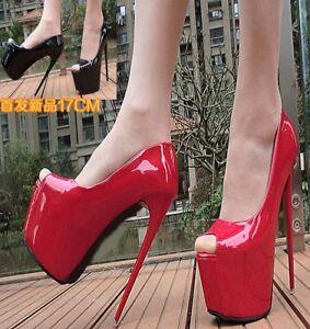 Women-039-s-Peep-Toe-Platform-Stilettos-Super-High-Heels-Shoes-Nightclub-Party-Pumps