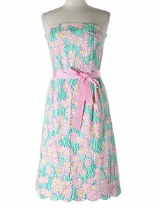 Women lilly pulitzer pink blue grass lion head flower strapless image is loading women lilly pulitzer pink blue grass lion head mightylinksfo