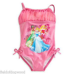 db9d0f9f2f Image is loading NWT-Disney-Store-Princess-Deluxe-Swimsuit-Tiana-Aurora-