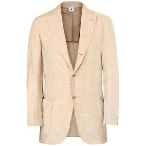 BORRELLI-NAPOLI-2-495-tan-summer-linen-blazer-Linosa-jacket-40-US-50-IT-NEW
