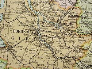1919 LARGE MAP ~ FRANCE SOUTH WEST ~ BORDEAUX LANDES INSET ...