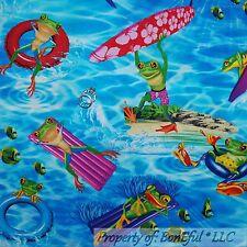 BonEful Fabric FQ Cotton Quilt Aqua Blue Green Lg Frog Fish Beach Boy Surf Board