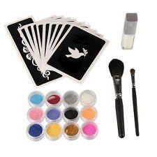 Body Art Stencil Kit 12 Glitter Colors+10 Temporary Tattoo Stencils+Glue+2 Brush