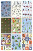 Christmas Set 9 Sheets American Greetings Stickers Santa Snowman Trees & More