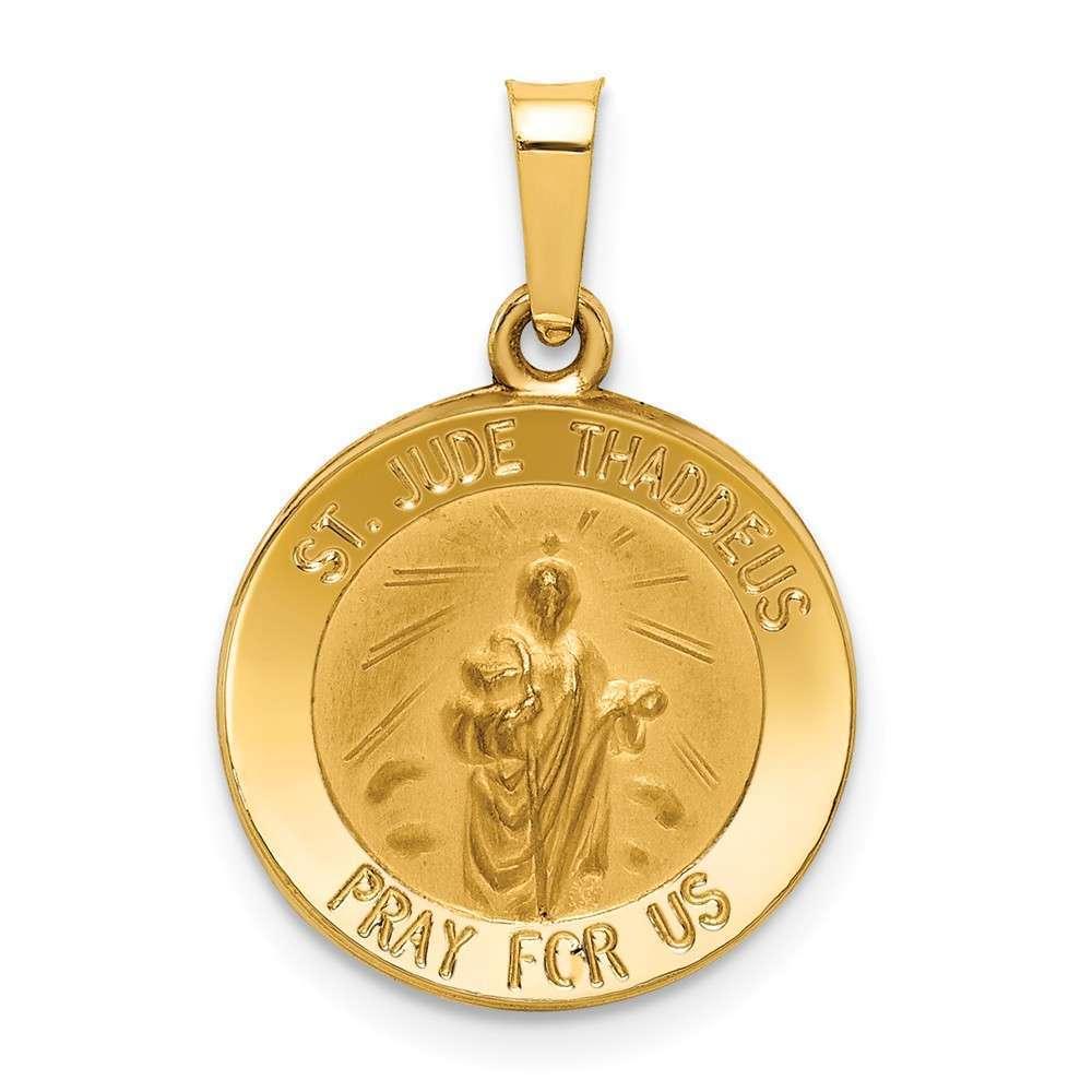 14K Yellow gold Polished & Satin St. Jude Thaddeus Medal Pendant XR1345