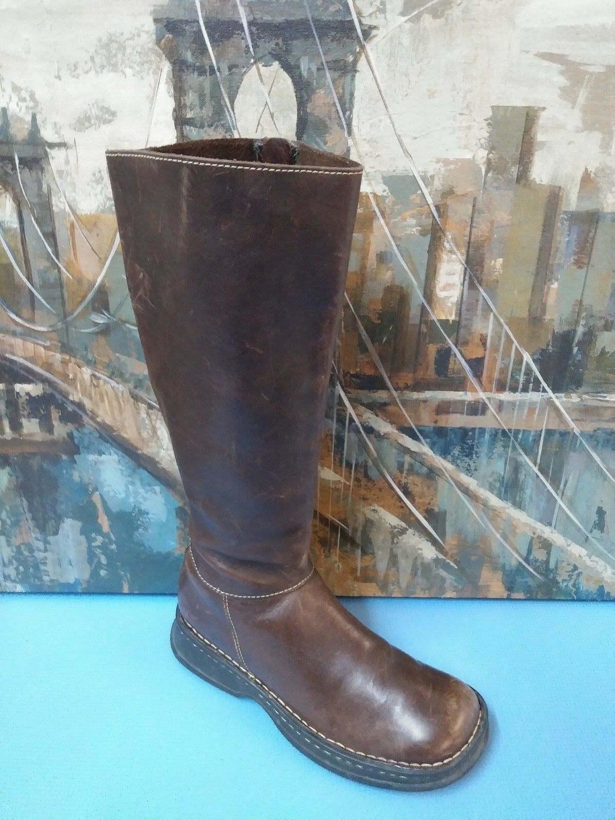 Born Style 9972 Brown Leather Pull On Boots Sz 7.5 M W Eur 38.5