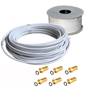 40m-135dB-Koaxial-Sat-Kabel-5-fach-F-Stecker-Vergoldet-Gummi-FULL-HD-3D-4K-TV