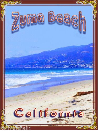 Zuma Beach Malibu California United States America Travel Advertisement Poster