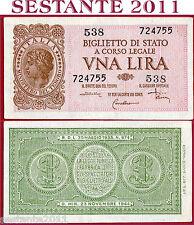 ITALIA ITALY - 1 Lira LUOGOTENENZA  1944 Sign DI CRISTINA - P  29c - FDS-/ UNC-