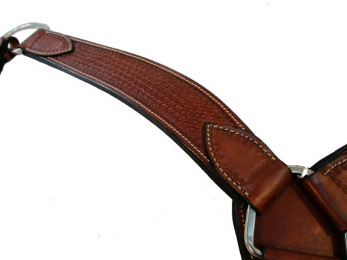 """HARNESS LEATHER 2.5/"""" WIDE BREAST COLLAR WESTERN ROPING HORSE TACK"""