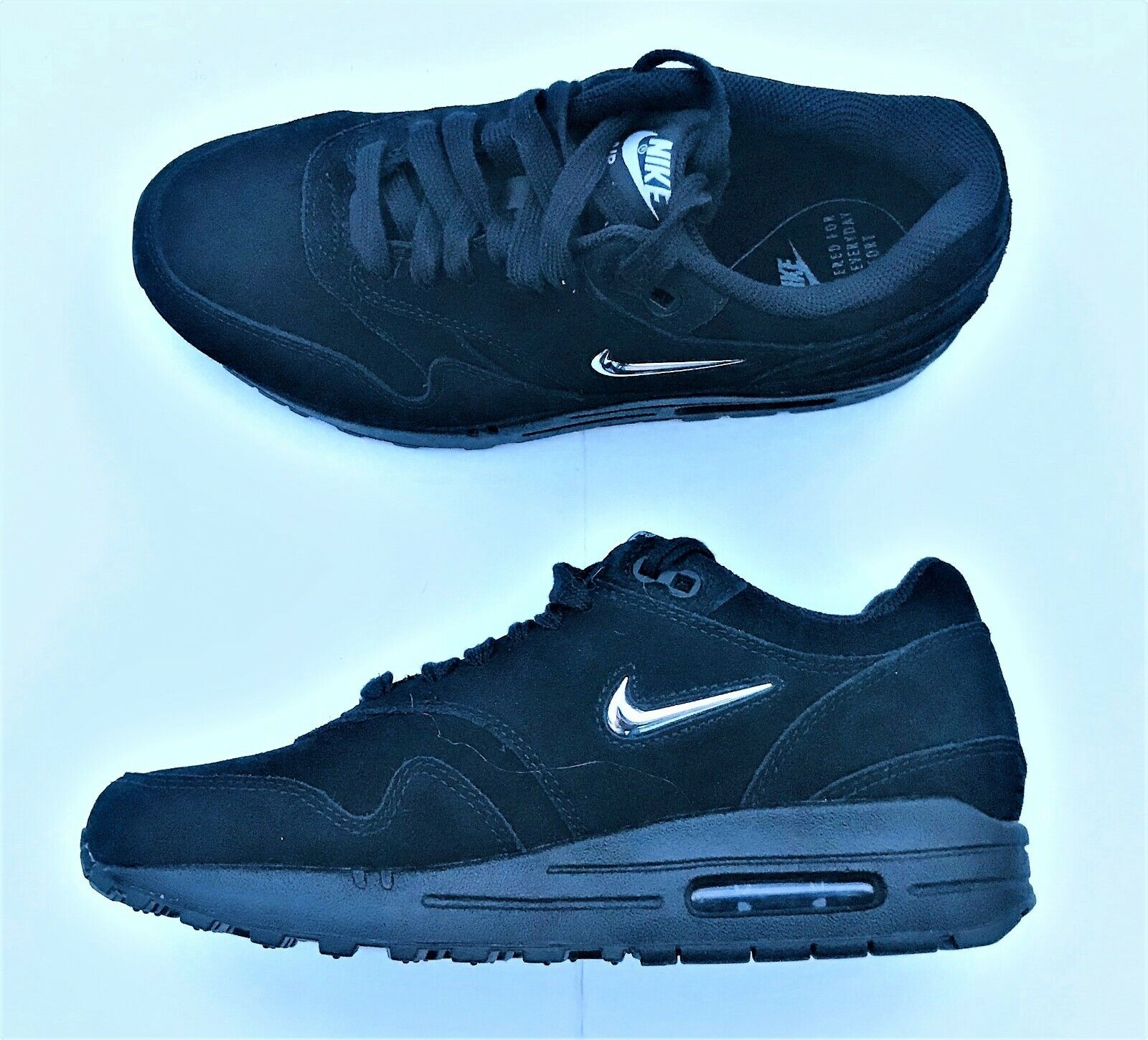 Nike Air Max 1 Premium SC shoes AA0512-001 Suede Black Silver Women's Size 7