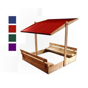 sandkasten sandkiste mit sitzb nken dach deckel holz neu 120x120 140x140 ebay. Black Bedroom Furniture Sets. Home Design Ideas