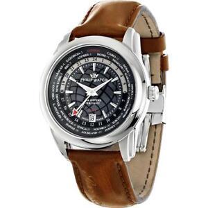 Orologio-Uomo-PHILIP-WATCH-SEAHORSE-R8251196006-GMT-Pelle-Marrone-SWISS-MADE