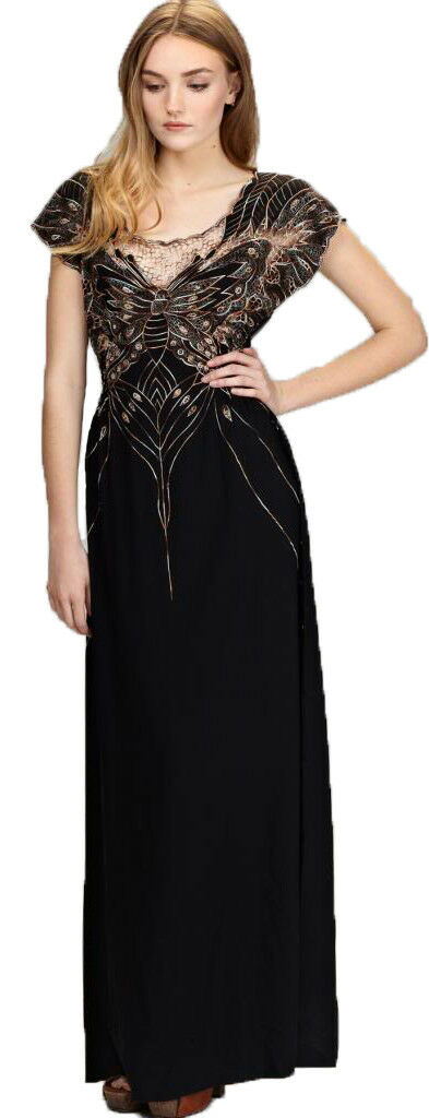 Sugarhill Boutique Sz XS 6-8 schwarz Butterfly Maxi Dress Glam Gold Embroidery