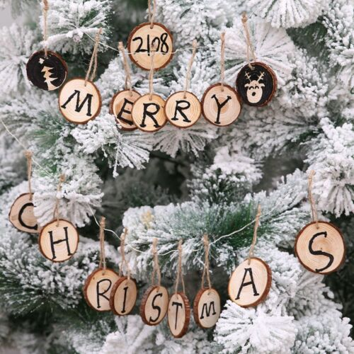10x Wooden Christmas Tree Hanging Ornament Wood Slices DIY Art Craft Gift Tag